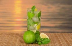 Exponeringsglas med mojito, saftig limefrukt och grönmyntan spricker ut arkivbilder