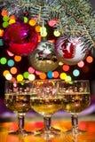 Exponeringsglas med mousserande vin med festliga garneringar royaltyfri foto