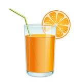 Exponeringsglas med orange fruktsaft Arkivfoto