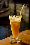 Exponeringsglas med orange fruktsaft Arkivfoton