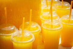 Exponeringsglas med orange fruktsaft ganska Royaltyfri Fotografi