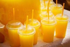 Exponeringsglas med orange fruktsaft ganska Arkivbilder