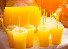 Exponeringsglas med orange fruktsaft ganska Royaltyfria Bilder