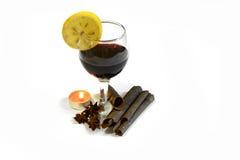 Exponeringsglas med rött vin med julgarnering November 14, 2014 Royaltyfria Bilder