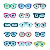 Exponeringsglas med ramen eller solglasögon för monokel för ögonvektortecknad film i former och tillbehören för hipsters danar op Royaltyfri Bild