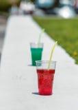2 exponeringsglas med sommardrycker Royaltyfri Fotografi