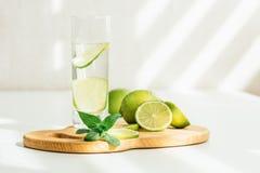 Exponeringsglas med vatten-, limefrukt- och mintkaramellsidor fotografering för bildbyråer