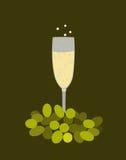 Exponeringsglas med vitt vin och druvor Arkivbilder