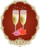 Exponeringsglas med vitwine Royaltyfria Foton
