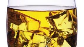Exponeringsglas med whisky- och iskuber som fyller och tömmer i effekt för zoom för stopprörelse över vit lager videofilmer