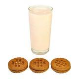 Exponeringsglas med yoghurt och kakor arkivbild