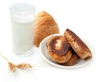 exponeringsglas mjölkar rostat bröd Royaltyfri Bild