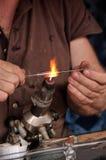 Exponeringsglas och brand Fotografering för Bildbyråer