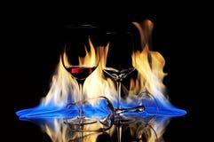 Exponeringsglas och brand arkivbild
