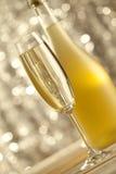 Exponeringsglas och flaska av champagne på bokehbakgrund royaltyfria foton