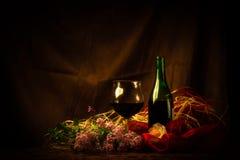 Exponeringsglas och flaska av rött vin i elegant inställning Arkivbilder