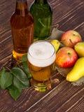 Exponeringsglas och flaskor av äppeljuice Royaltyfri Fotografi