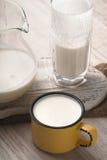Exponeringsglas och kanna av kefir och kopp på en vit ställning Royaltyfri Fotografi