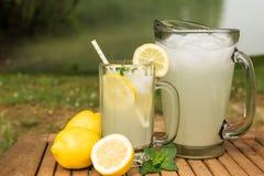 Exponeringsglas och kanna av lemonad med sjön Arkivfoto