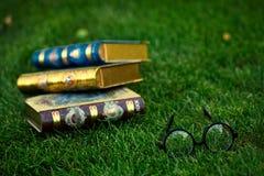 Exponeringsglas och tre böcker på gräset arkivfoton