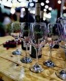 Exponeringsglas och wine Arkivfoton