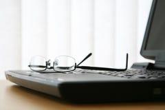 Exponeringsglas på bärbar dator skrivar Royaltyfri Fotografi