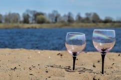 Exponeringsglas på flodbanken Royaltyfria Bilder
