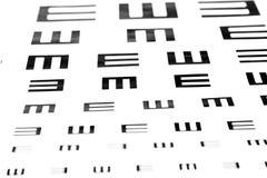 Exponeringsglas på visionprovdiagram Arkivfoton