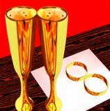 exponeringsglas ringer gifta sig wine två Arkivbild