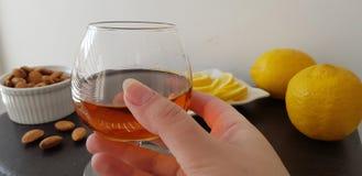 exponeringsglas som är halvfullt med konjak över den bruna tabellen med mandlar och citroner arkivfoto