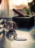 exponeringsglas spilld wine Fotografering för Bildbyråer