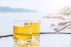 exponeringsglasfruktsaft två fotografering för bildbyråer