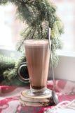 Exponeringsglaskoppen av smakligt med kakao nära den Woolen filtgranen för fönstret förgrena sig vertikalt julkortbegrepp för kot fotografering för bildbyråer