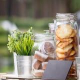 Exponeringsglaskrus med kakor och muffin, gr?na plantor i dekorativa hinkar f?r metall royaltyfri fotografi