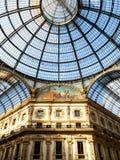 Exponeringsglaskupol av Galleria Vittorio Emanuele II arkivfoto