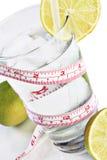 exponeringsglaslimefrukter mäter bandvatten Royaltyfria Foton