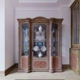 Exponeringsglasserveringsbord i en klassisk form i matsalen med härlig disk Träserveringsbord, snidit trä royaltyfri illustrationer
