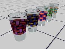 exponeringsglastegelplattor för drink 3d Arkivbilder