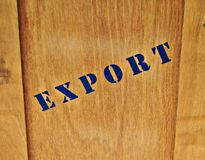Export. Lid brown wooden box for export products Stock Photo