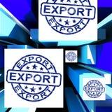 Export auf den Würfeln, die weltweites Verschiffen zeigen Stockbild