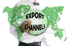 Export channels concept shown by a man Royalty Free Stock Image