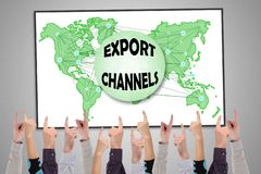 Export channels concept on a whiteboard. Pointed by several fingers stock photos