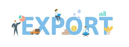 EXPORT. Concept with people, letters and icons. Flat vector illustration. Isolated on white background. EXPORT. Concept with people, letters and icons. Colored royalty free illustration