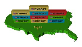 Export containers on USA map Stock Image