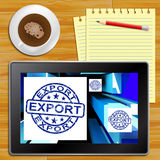 Export On Cubes Showing Worldwide Shipping Tablet Royalty Free Stock Images
