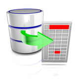 Export data from a database. Icon symbolizing a database export to an external file Royalty Free Stock Photo