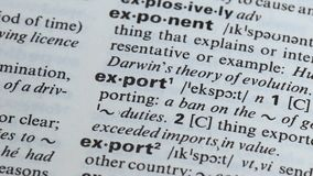 Export definition written in dictionary, process of international trade, economy. Stock footage stock video footage