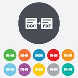 Export DOC till PDF-symbolen. Mappdokumentsymbol. Royaltyfri Foto