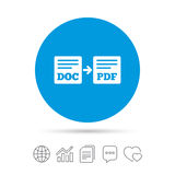 Export DOC to PDF icon. File document symbol. Copy files, chat speech bubble and chart web icons. Vector Stock Photos