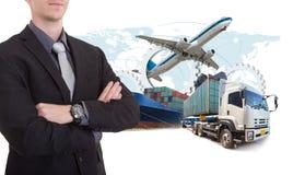Export för import för logistik för ledning för kedja för affärsman withsupply royaltyfria bilder